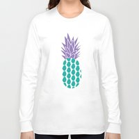 pineapples Long Sleeve T-shirts featuring Pineapples  by Ashley Hillman