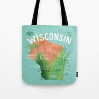 wisconsin Tote Bags featuring Wisconsin Map by Stephanie Marie Steinhauer