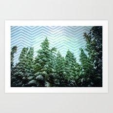 Snowy Chevron Art Print