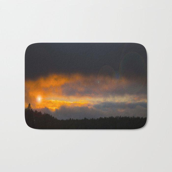 October Cloudy Sunset #decor #buyart #society6 Bath Mat