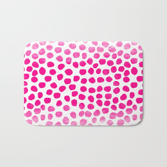 Ombre dots cute hot pink trendy must have gifts for college dorm room decor affordable painting Bath Mat