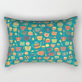 Vintage tea party - tea cups and sweets - teal Rectangular Pillow