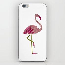 flowery flamingo iPhone Skin