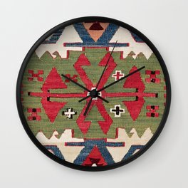 Red Diamond Arrow Konya // 19th Century Authentic Colorful Blue Green Cowboy Accent Pattern Wall Clock