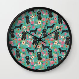 Coonhound floral pattern dog breed customized pet portrait gifts for dog lover Wall Clock