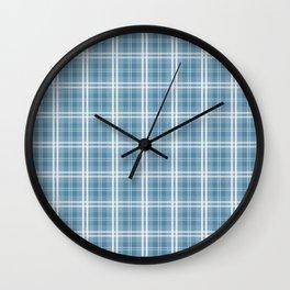 Spring 2017 Designer Color Niagra Blue Tartan Plaid Check Wall Clock