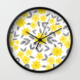 Watercolor Spring Summer Flowers, Floral Pattern in Illuminating Yellow and Ultimate Gray Color Wall Clock