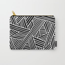 Abstract black & white Lines and Triangles Pattern - Mix and Match with Simplicity of Life Carry-All Pouch