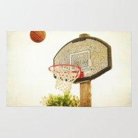 basketball Area & Throw Rugs featuring Basketball by KimberosePhotography