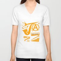 jazz V-neck T-shirts featuring Jazz by Veronica S