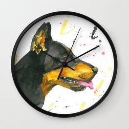 Doberman - Watercolor Painting Wall Clock
