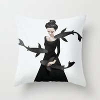 girls Throw Pillows featuring News from afar by Ruben Ireland