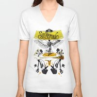 steampunk V-neck T-shirts featuring SteamPunk by Genco Demirer