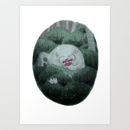 Bear and Berries Art Print