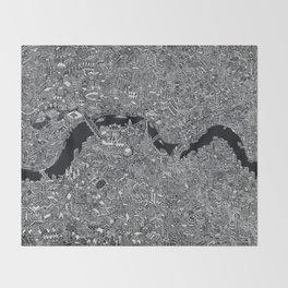 London map black and white Throw Blanket