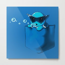 Blowing Bubble Squirtle Metal Print