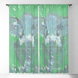 Abstract Elephant Sheer Curtain