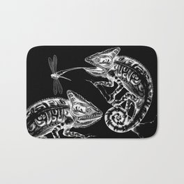 Catch - Chameleon and Dragonfly Illustration Hand Drawing from Inktober 2019 Bath Mat