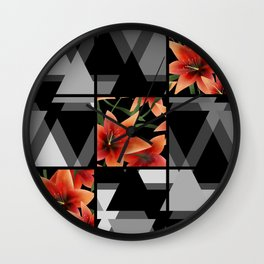 """From the series """" Favorite patchwork """". Lilies on black. Wall Clock"""