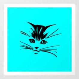 Aqua Kitty Cat Face Art Print