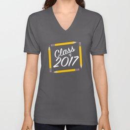 Class of 2017, white font Unisex V-Neck