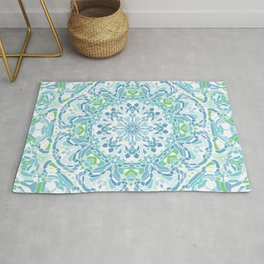 Blue, Green and White Mandala Rug