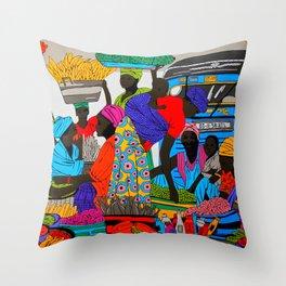African marketplace 2 Throw Pillow