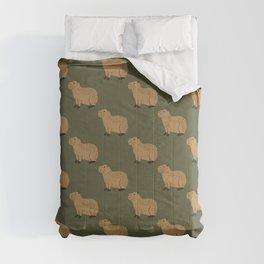 capybara on green Comforters