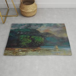 "Gustave Courbet ""Lac Léman avant la tempête (Lake Geneva before the storm)"" Rug"