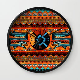 Colorful Hunab Ku Mayan symbol #6 Wall Clock