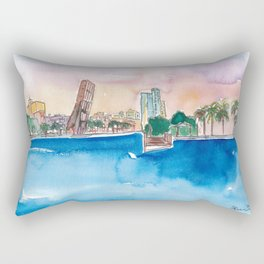 Fort Lauderdale Skyline Sunset In Florida Rectangular Pillow