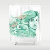 ships Shower Curtains featuring Paper ships by Pendientera