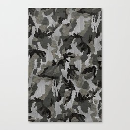 Modern Woodgrain Camouflage / Winter Birch Woodland Print Canvas Print