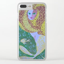 Mermaid underwater with sea animals Clear iPhone Case