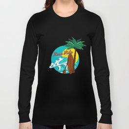 Pura Vida Ocean Costa Rica Waves Surfing Beaches Swimming Gifts Long Sleeve T-shirt