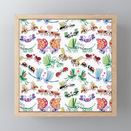 Funny insects falling in love posing for a pattern design Framed Mini Art Print
