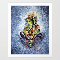 ganesha Art Prints featuring Ganesha by Harsh Malik