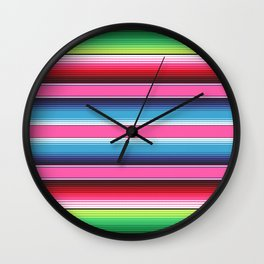 Pink Green Blue Mexican Serape Blanket Stripes Wall Clock
