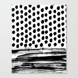 Zoe - Black and white dots, stripes, painted, painterly, hand-drawn, bw, monochrome trendy design Canvas Print