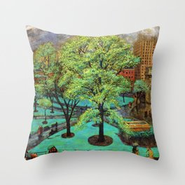 "Classical Masterpiece 'Spring, Washington Square, NYC"" by John French Sloan Throw Pillow"