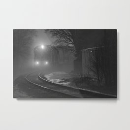 Train In The Fog Metal Print