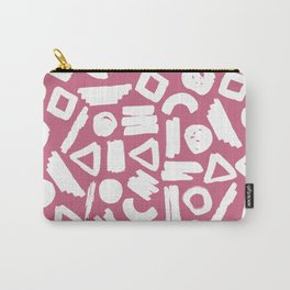 Hand painted pink white brushstrokes geometrical shapes Carry-All Pouch