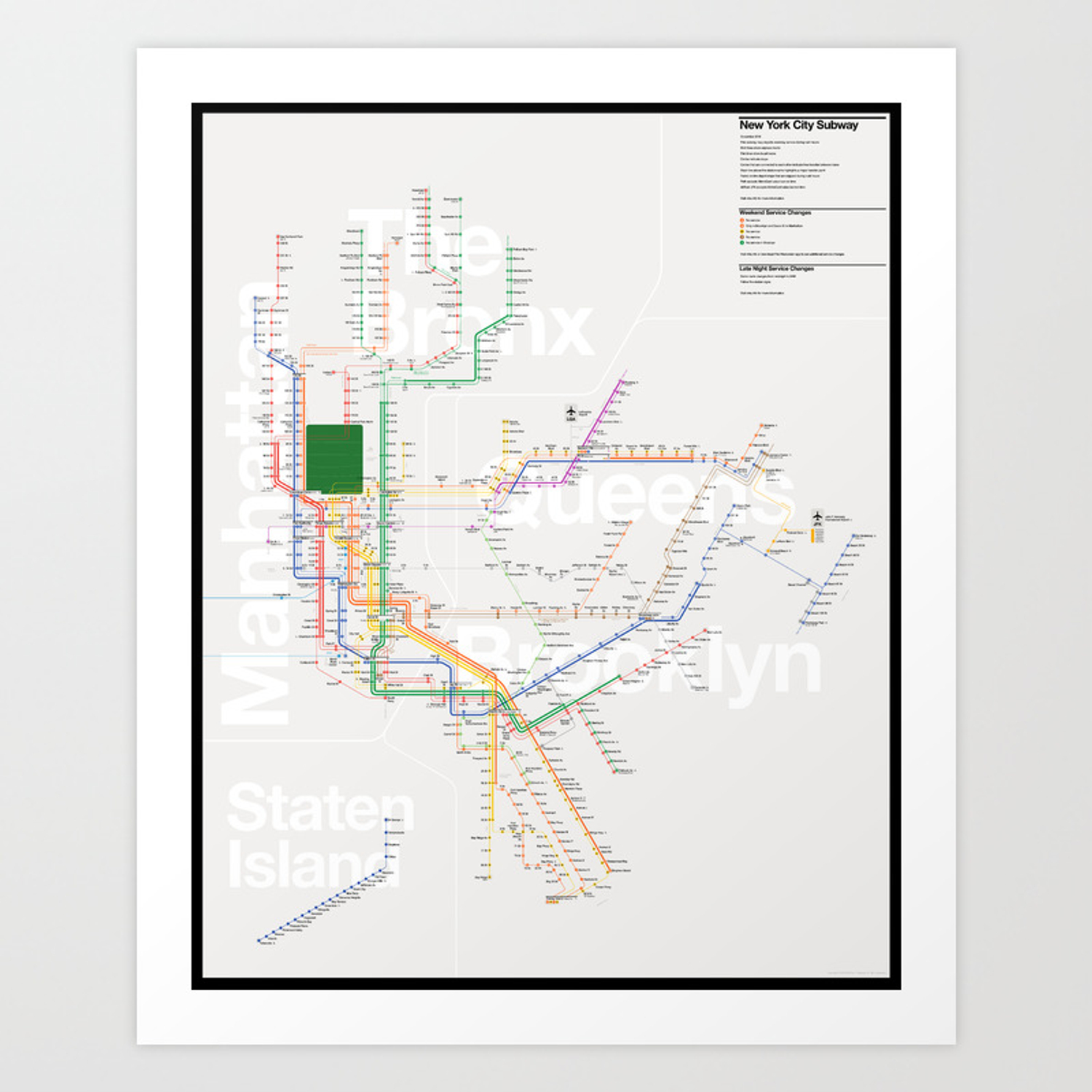 City Subway Map Art.New York City Subway Map Art Print