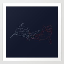 Blue and Red Sharks Art Print