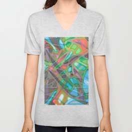 Colorful Abstract Stained Glass G299 Unisex V-Neck