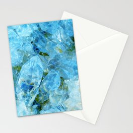 Blue Crystal Geode Art Stationery Cards