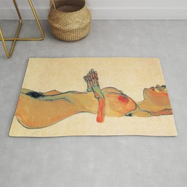 Egon Schiele - Orange knuckles and nipples (new color edit) Rug