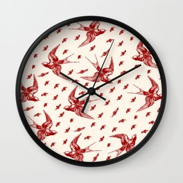 Burgandy Swallows Wall Clock