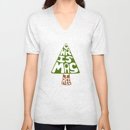 Textual Christmas Tree Unisex V-Neck