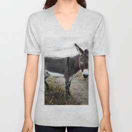 A burro stands in what is otherwise a field of cattle near Jefferson Colorado Unisex V-Neck